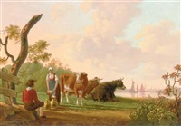 a milkmaid conversing with a young man conversing near her cows in a river landscape by johannes willem boshamer