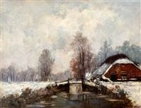 boerderij in sneeuwlandschap by charles dankmeijer