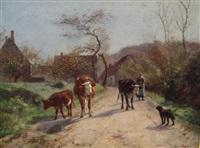 bergère et troupeau by aymar (aimard alexandre) pezant