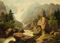 alpine landscape with glacier by georg eduard otto saal