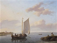 sailing in a calm estuary by johannes hermanus koekkoek