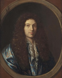 portrait of a gentleman, traditionally said to be jean-baptiste lully (1632-1687), bust-length, in a goldembroidered blue coat, in a feigned oval by pierre mignard