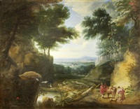 figures and cattle on a track in a wooded landscape, with heron by a pond by jacques d' arthois