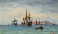 english frigates on the mediterranean sea by heinrich leitner