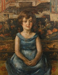 portrait of a girl wearing a blue dress by walter vaes