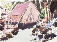 camp at noon, gullfoot lake by david brown milne