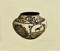 19th century zuni jar (deer design) by patricia dobson