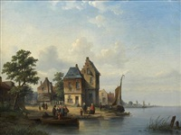 village au bord d'un fleuve animé de paysans by louis smets