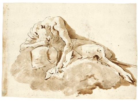 reclining satyr and allegory of prudence recto verso by giovanni battista tiepolo