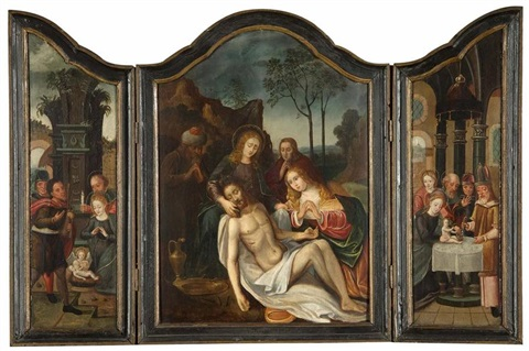 piéta 2 others triptych by anonymous flemish 16