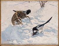 vinterlandskap med skator by gunnar aberg