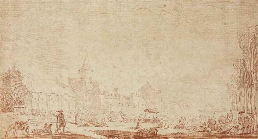 a village near paris by hubert robert