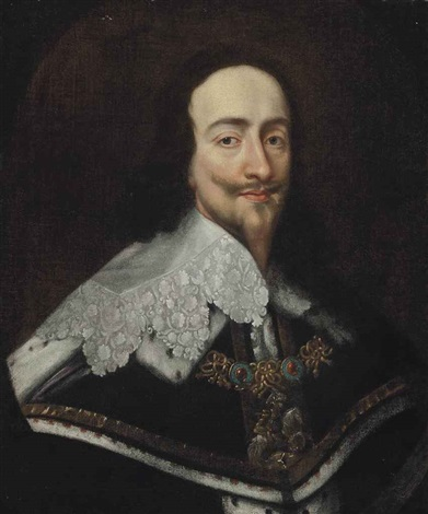 portrait of king charles i (1600-1649), bust-length, wearing the order of saint george by sir anthony van dyck
