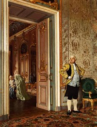 rococo interior with distinguished ladies in a parlour. a servant is standing next to the door by ernst müller-zschoppach