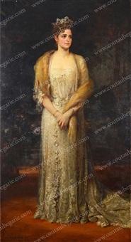 portrait en pied de l'impératrice alexandra féodorovna de russie by friedrich august von kaulbach