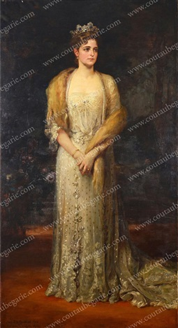 portrait en pied de limpératrice alexandra féodorovna de russie by friedrich august von kaulbach
