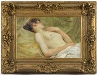 reclining female nude by vlacho bukovac