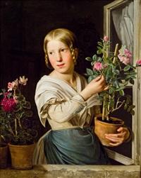 junges mädchen am fenster mit blumenstöcken by rosalia amon