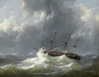 ship in distress by johannes christiaan schotel