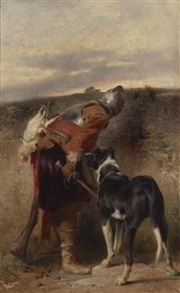 der wachposten - landsknecht mit dogge by johann till the younger