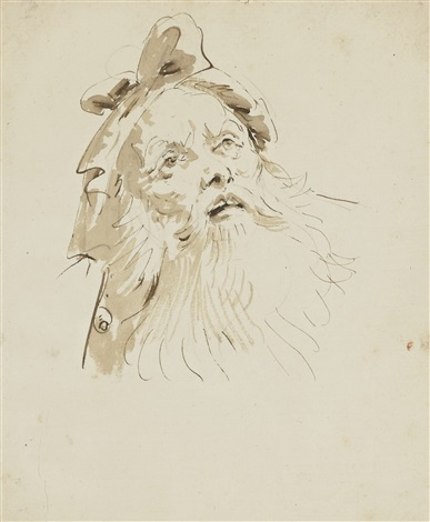 head of a bearded old man by giovanni battista tiepolo