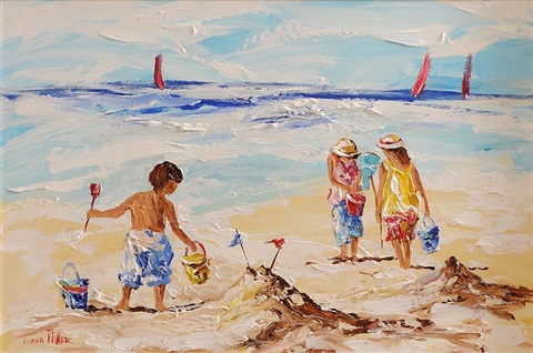 playing on the beach by lorna millar