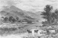 cattle watering in a highland river landscape by a. lewis
