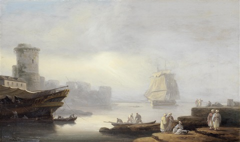 ships at anchor in a mediterranean port with merchants on the quay in the foreground by thomas luny