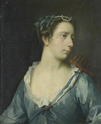 portrait of a lady as diana, in a blue silk dress by frans van der myn