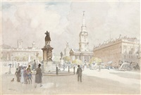 view of trafalgar square, london by albert henry fullwood