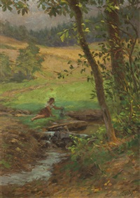 mädchen am bach by theodor hilser