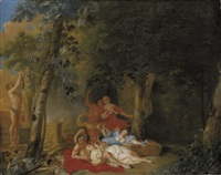 a wooded landscape with amorous couples by karel philips spierincks