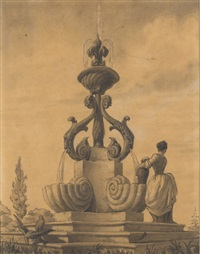 a fountain with gothic tracery (+ two figures and a fountain with scrolls and scallop bowls; 2 works) by emilio terry