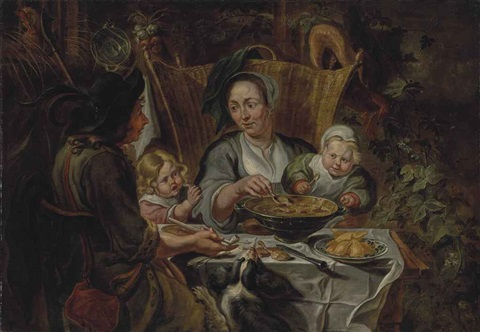 a family gathered around a table sharing a meal by jacob jordaens