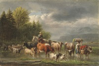 cattle in a stream by jan van ravenswaay
