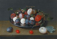 still life of plums on a plate, with cherries on the ledge beside by jacob van hulsdonck