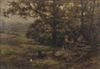 children at rest on the edge of a wood by harold joseph swanwick