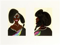 afro harlem muses (2 works) by chris ofili