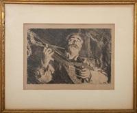 man with mandolin; boy with mandolin (2 works) by anders zorn