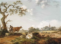 a wooded landscape with a drover and his herd of cows and sheep, a horse-drawn cart before a wheatfield, a town and a church beyond by fredericus theodorus renard