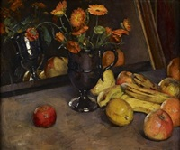 a still life of fruit and marigolds by edward drummond young