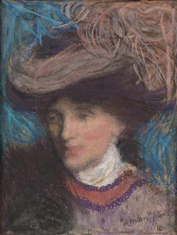 portrait de femme au chapeau by edmond françois aman jean