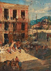 scene from a southern european city with artisans at work by ludvig jacobsen