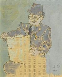 morning line (man reading) by joseph solman