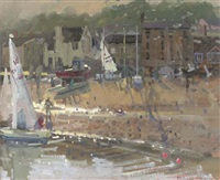 sailing boat at harbour by richard pikesley