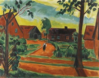 kind auf dorfstrasse (child on a village street) by max pechstein