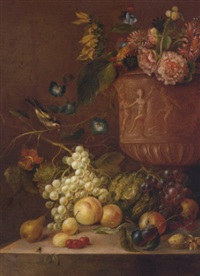 grapes, peaches, a pear, plums, a cabbage, a walnut, a hazelnut, cherries and fly on a stone ledge, a sunflower and other flowers in a sculpted urn by g. dadelbeek