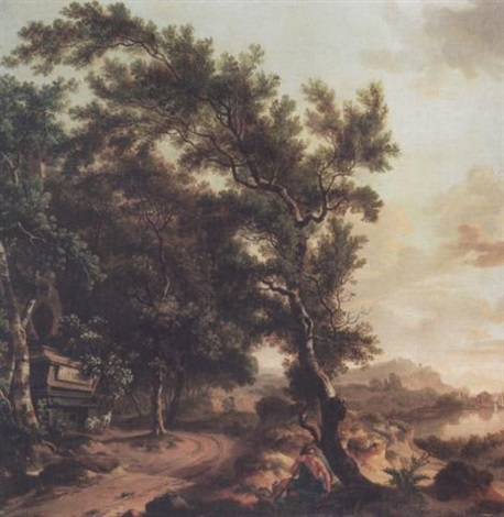 an extensive wooded landscape with a classical figure resting by a tree a tomb beyond by jurien adriaensen