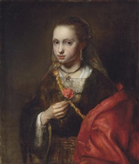 portrait of a lady in a black dress and red shawl, holding a flower by abraham van dyck