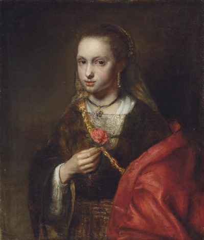 Portrait Of A Lady In A Black Dress And Red Shawl Holding A Flower